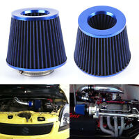 Universal Blue Finish Car Air Filter Induction Kit High Power Sports Mesh Cone
