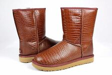 Ugg Classic Short Croco Spice Glossy Leather Women Boot Size 5 US