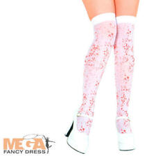 Blood Stained White Stockings Ladies Fancy Dress Halloween Zombie Costume Access