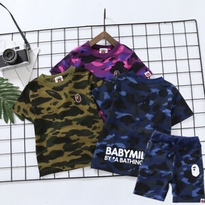 2021 1 Set Kids Boy Girl Baby Milo Monkey Summer Shirt Top Tee + Camo Short Pant