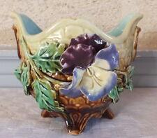 petit cache pot barbotine decor fleurs pensée flowerpot