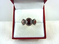1.52 ct Natural Garnet 925 Sterling Silver Antique Finish Three-Stone Ring