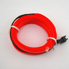 12V 2M Red Glow Neon LED Light EL Wire String Strip Rope Tube Car Interior Deco