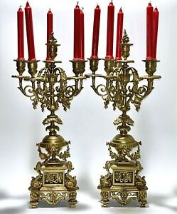 Exquisite Pair Antique 18C French Louis XV Grand Candelabra With 4 Branches Each