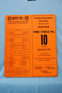 Santa Fe Employee Time Table #10 - Western Lines - Northern Div - 4/29/79