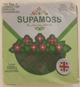 """10 x SUPAMOSS 24"""" SQUARE NATURAL GREEN HANGING BASKET LINERS FOR 16"""" BASKETS."""