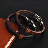 Surfer Men's Vintage Hemp Wrap Leather Wristband Bracelet Cuff Black Brown Gift