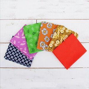 Threadart 6 Fat Quarter Bundles Grab Bags - Rainbow Prints 100% Cotton Fabric