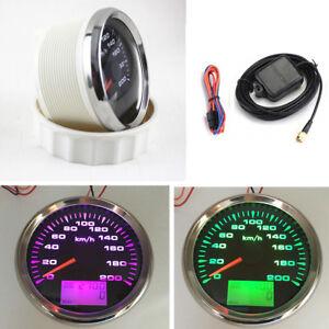 7 Colors LCD Display GPS Speedometer Gauges Stainless Steel Bezel+Anti-fog Glass
