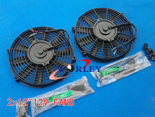 """2 ×12V 12"""" Slim Radiator Cooling Thermo Electric Fan & Mounting kit"""