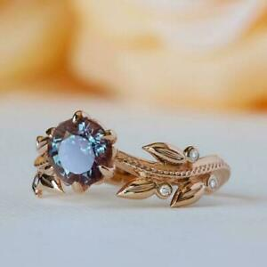 2Ct Round Cut Alexandrite Leaf Accent Women's Engagement Ring 14k Rose Gold Over