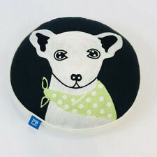 Pottery Barn Teen Throw Pillow Dog Terrier Round Embroidered Decorative 14""
