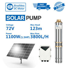 """3"""" DC Well Solar Water Pump Submersible Bore 72V 1100W 123m 3800L/H Irrigation"""