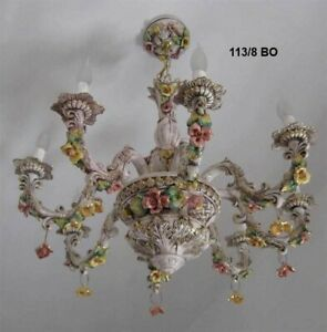 Capodimonte Made in Italy Chandelier 8 Lights Brown & Gold Finish (New)