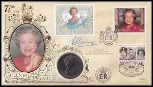 1996 Jersey Queen Elizabeth II 70th Birthday Benham C1 25p Coin Cover Signed