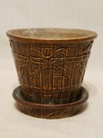 Vintage Art Pottery McCoy? Planter - with decorative embossed ribbon