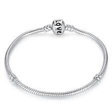 b308920ea Wostu European 925 sterling silver LOVE Clasp Bracelet Chain Christmas  Jewelry