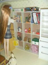 Miniature Furniture Home White Bookshelf Shelf for 1/8 Licca Momoko Blythe