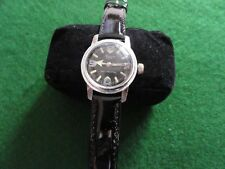 Vintage Swiss Made Bercona Sport Mechanical Wind Up Watch - Black Leather Band