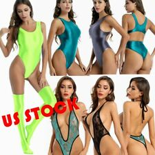 US Women Summer SWIMSUIT Shiny Bodysuit Stretchy Lace Leotard Swimwear Beachwear