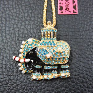 New Cute Blue Bling Elephant Crystal Betsey Johnson Pendant Sweater Necklace