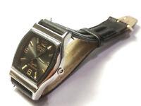 QMAX Crystal Herren/Damen Armband Uhr quartz Leder Band schwarz
