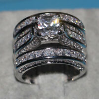 FJ- 3-in-1 Engagement Wedding Band Finger Ring Women Party Banquet Jewelry Cheap