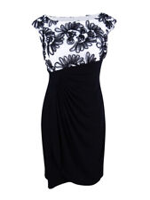 Connected Women's Asymmetrical Cocktail Dress (6, Ivory/Black)