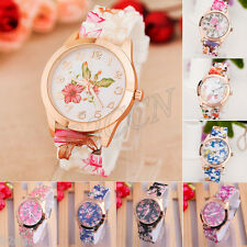 Fashion Women Casual Watch Digital Rose Print Silicone Band Bracelet Wrist Watch