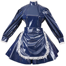 Bule Sissy Maid PVC Lockable Style Dress Uniform Cosplay Costume