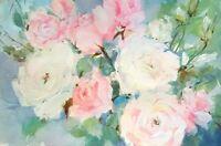 Linda Henry ORIGINAL WATERCOLOR ROSES Impressionist Floral Painting