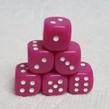 DICE - 10mm DELUXE OP PINK w/WHITE PIPS! SET OF 6 - LITTLE PINK CUTIES!