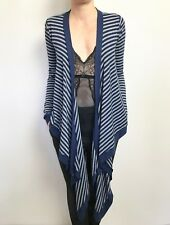 FAB METALICUS BLUE GREY STRIPE LONG SLEEVE DRAPE CARDIGAN ONE SIZE