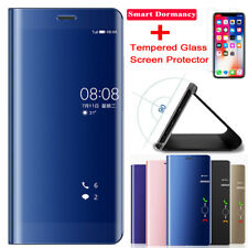 9H Screen Protector+Clear Smart View Mirror Flip Case Cover for iPhone X 6/8Plus