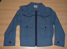 VINTAGE 1970's UNWORN BOYS BLUE ZIP UP POINTY COLLAR JACKET AGE 7-8 to 13-14