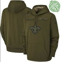 Men's New Orleans Saints Olive Salute to Service Sideline Therma Hoodie 2019