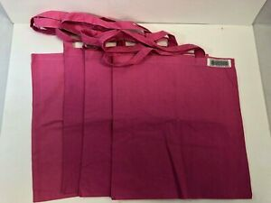 4-PACK BAGedge Cotton Canvas Tote Bags- Pink, NOB