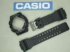 Genuine Casio G-Shock GA-100 black resin rubber watch band and bezel set