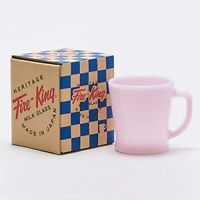RARE Fire King Soda Mug Milk Glass Rose-ite Pink D Hundle 2016 250ml from JAPAN