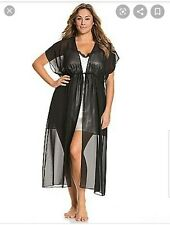 Cacique Seriously Sexy Black Chiffon Sheer Wrap Long Wrap Robe 18/20 New