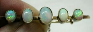 Beautiful Antique 9 carat Gold Five Stone Opal Brooch Superb Opals