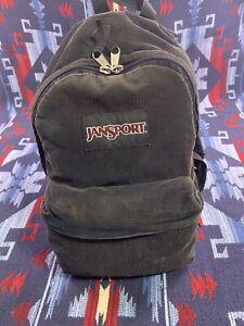 Jansport Black Corduroy Backpack T501 Vintage 90s Top Front Zip School Bag Pack