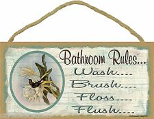 "Hummingbird Bathroom Rules Brush Wash Flush Floss Bathroom Sign Plaque 5""X10"""