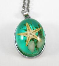 Collana donna pendente verde acqua stella marina catenina acciaio