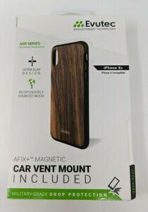 Evutec Apple iPhone X/XS Case (with Car Vent Mount) - Burmese Rosewood * Read*