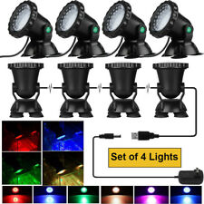 Lot 4 X Submersible 36Led Rgb Pond Spot Lights for Underwater Pool Fountain Ip68