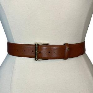 Ralph Lauren Women Belt Faux Leather Textured Tan Gold Buckle Size S NEW