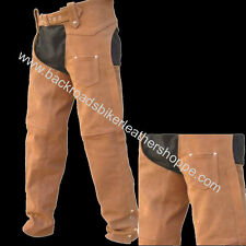 Mens Women Ladies Brown Leather Motorcycle Biker Chaps