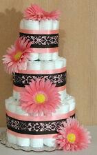 3 Tier Diaper Cake Pink & Brown Damask Girl Baby Shower Centerpiece
