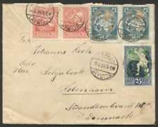 Latvia To Denmark Cover 1920 w 2 Pair Stamps + 1